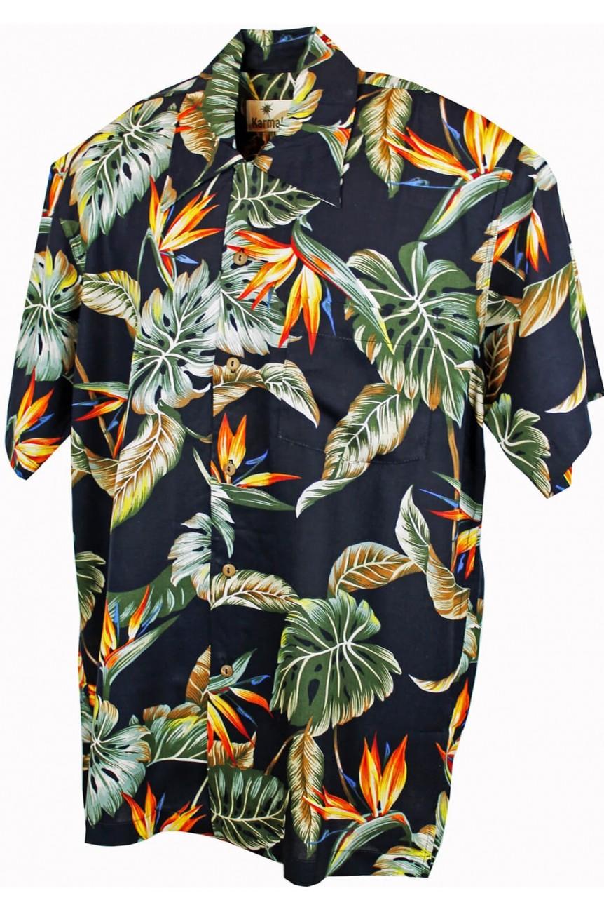 Chemise hawaienne noire a fleur