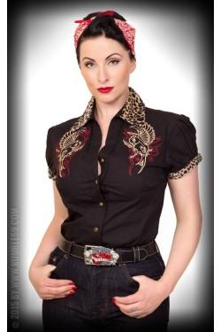 Chemise rockabilly hirondelle leopard