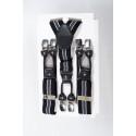 Bretelles rockabilly rayées noir/gris