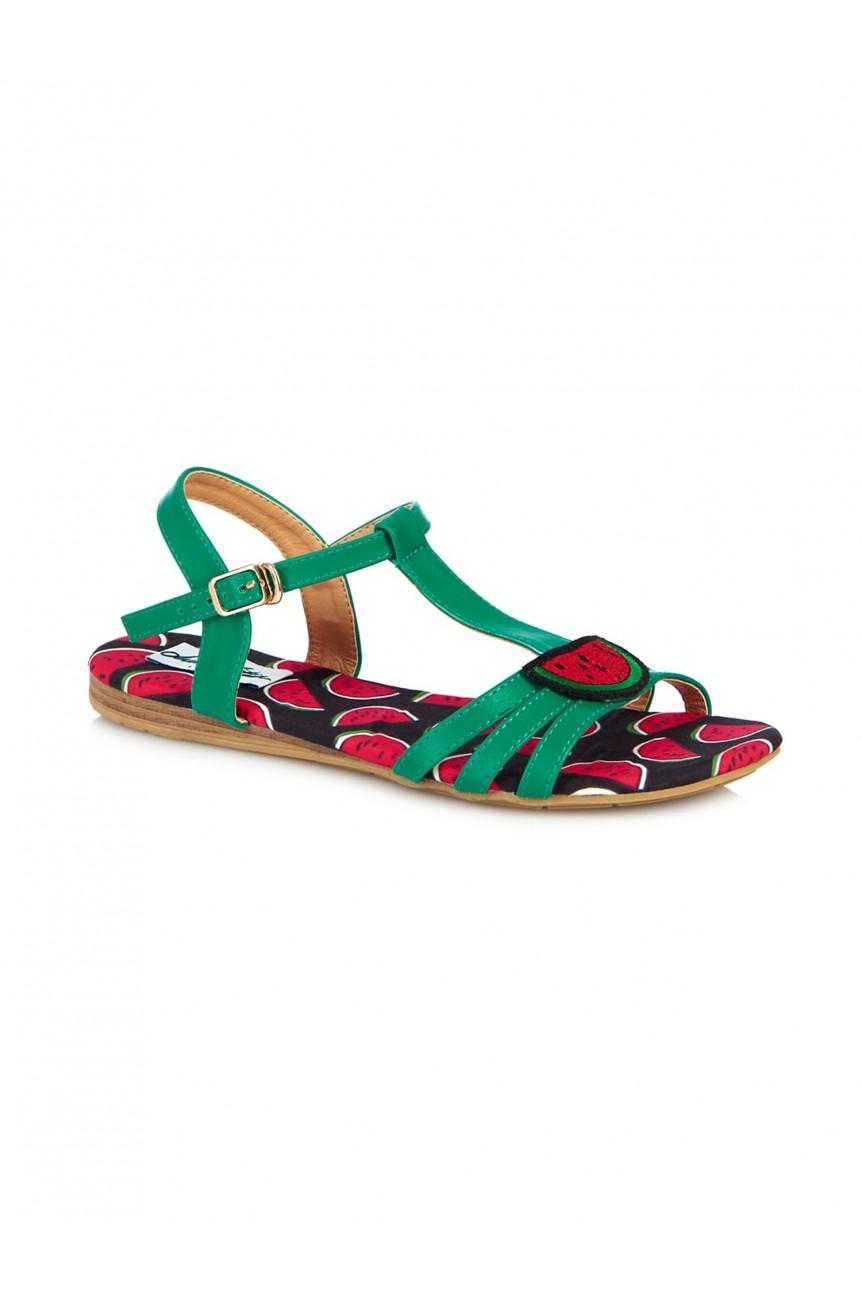 Sandales pin-up vertes pasteque