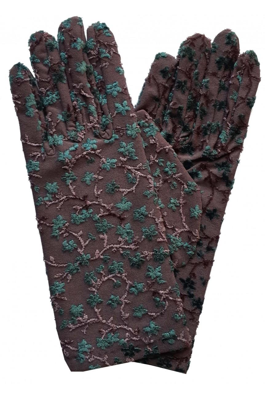 Gants motif floral brodé