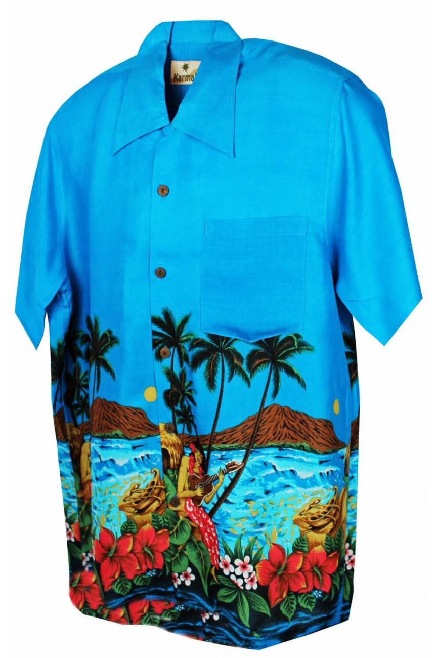 Chemise hawaïenne bleue palmiers
