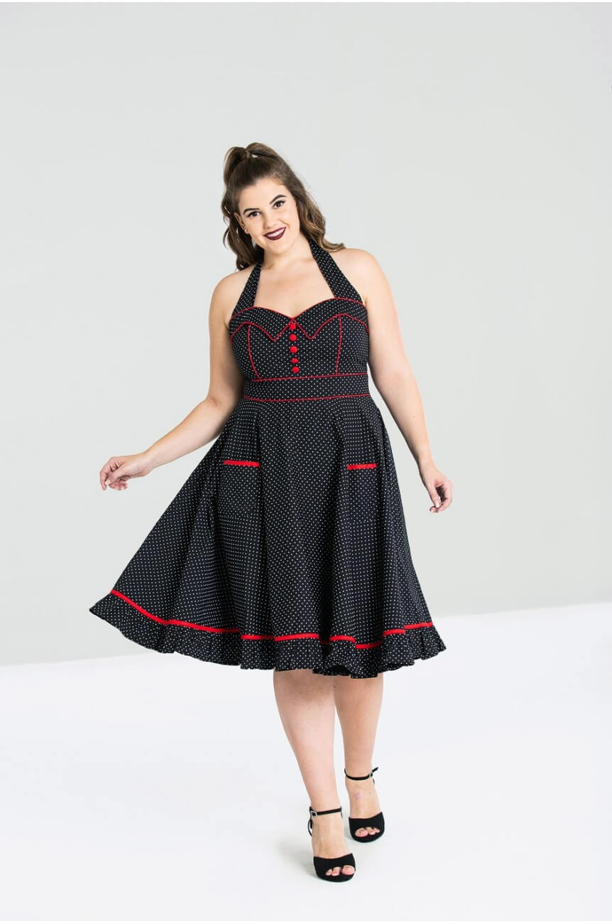 Robe swing a pois grande taille
