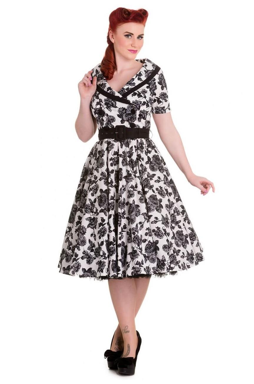 Robe années 50 a fleur noire