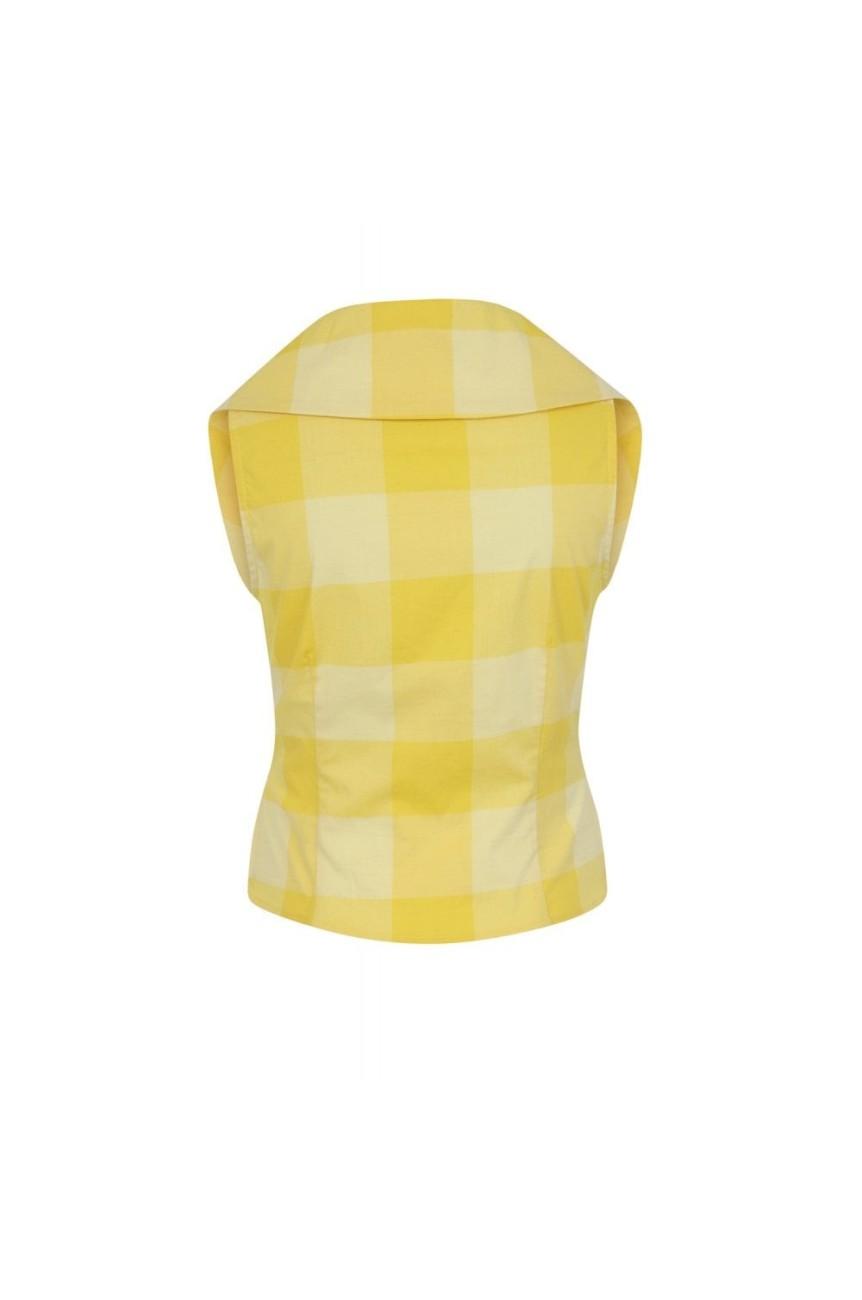 Blouse vintage jaune a carreaux
