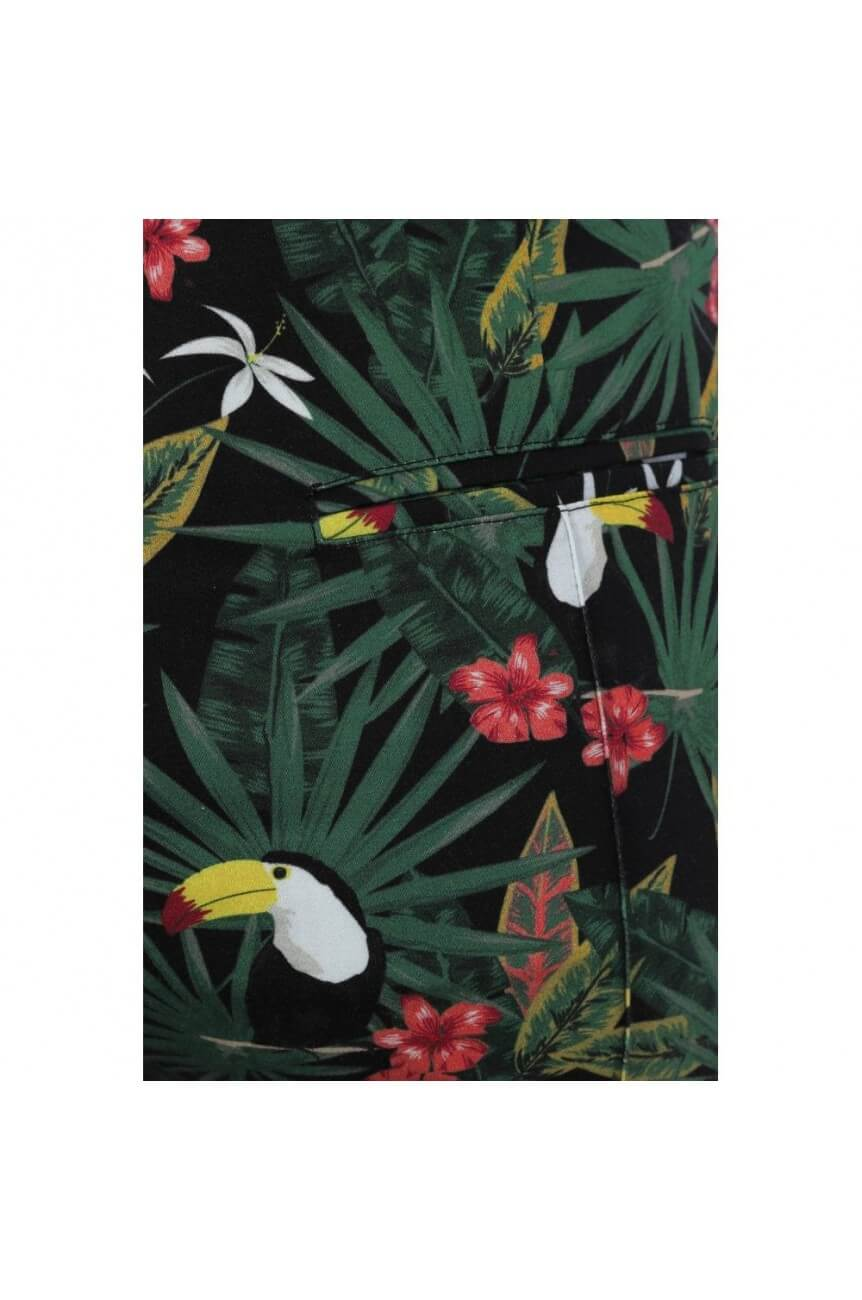 Pantalon motif tropical vintage