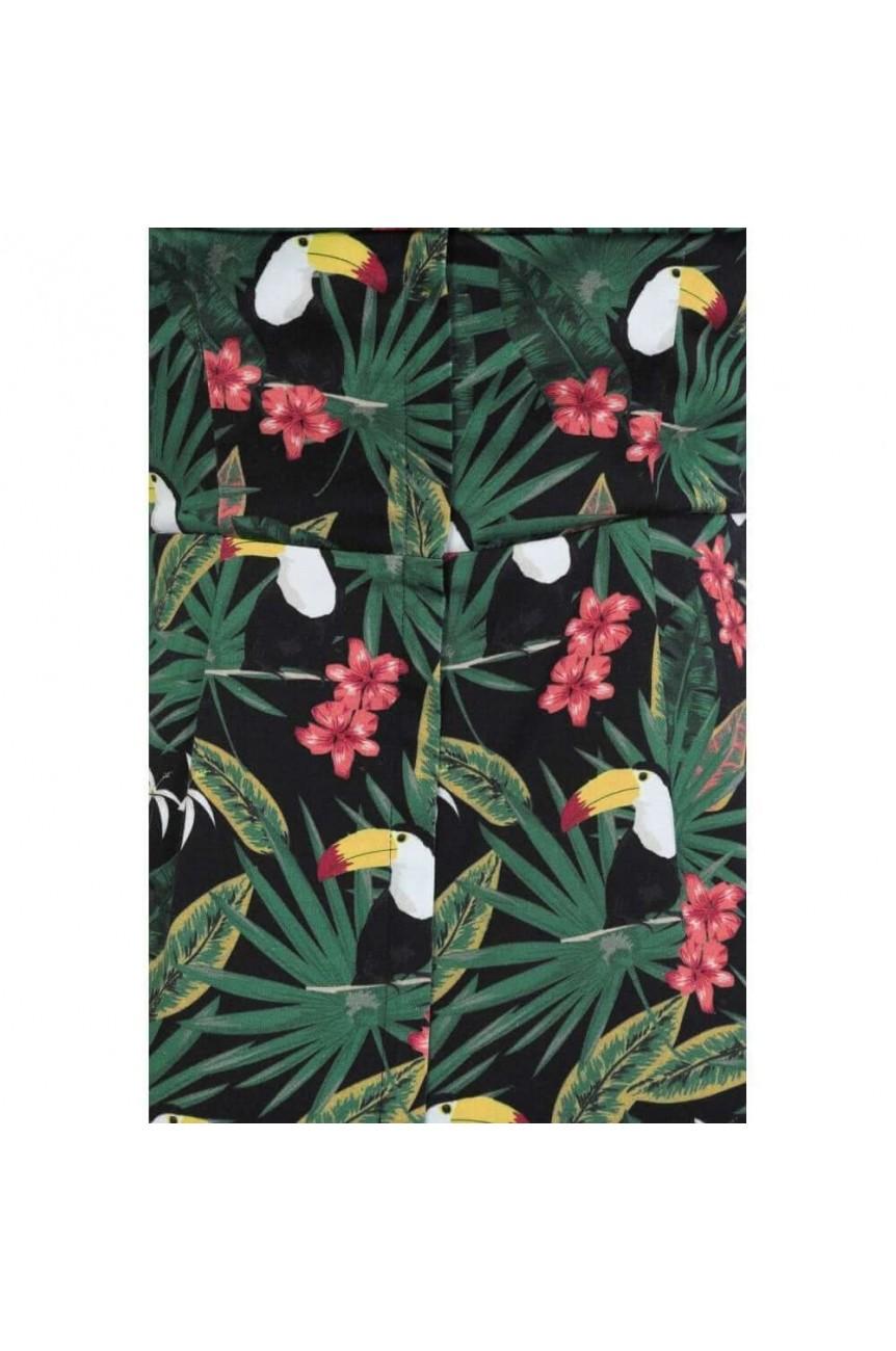Robe fourreau motif tropicaux
