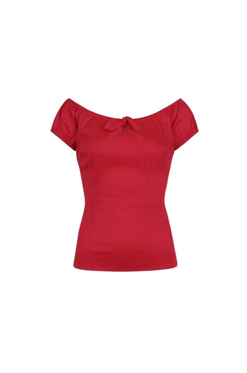 Haut rockabilly rouge