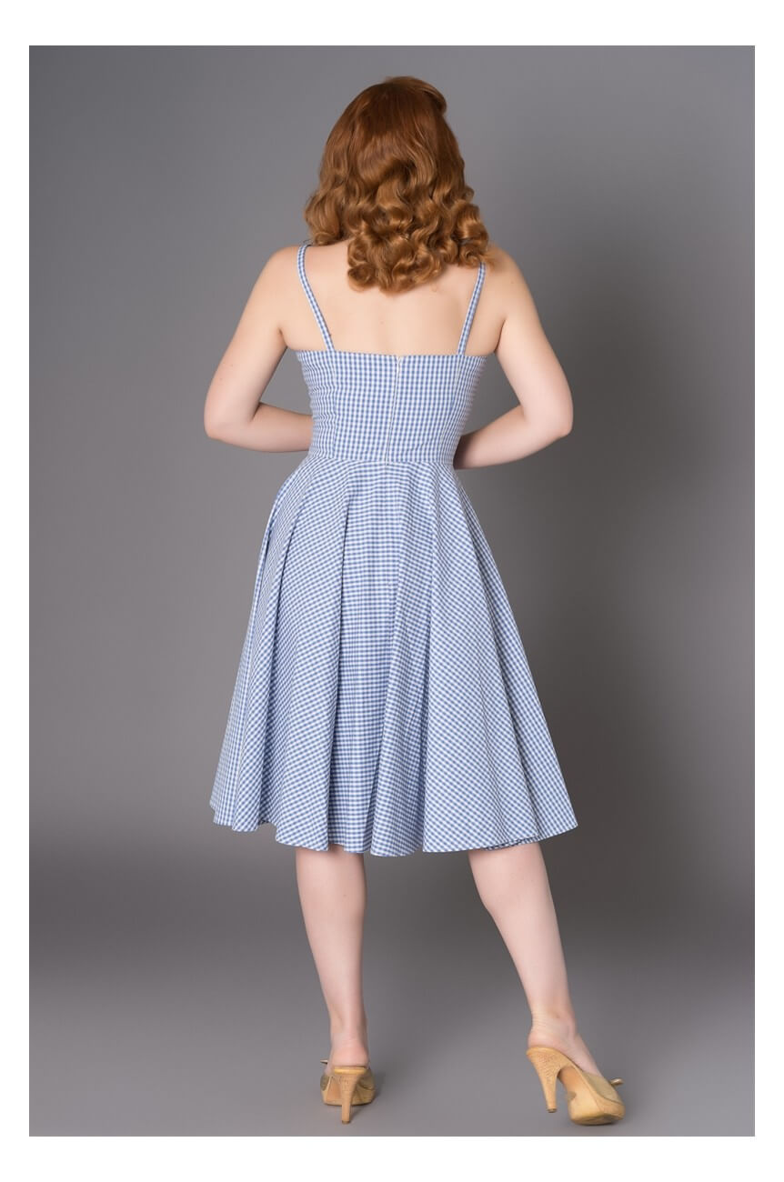Robe vichy bleue 1950 vintage