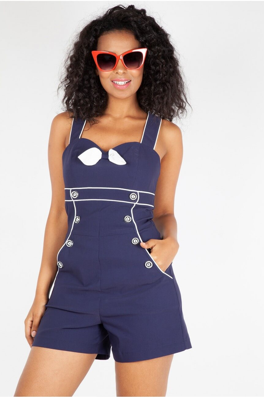 Combishort pin up nautique bleu