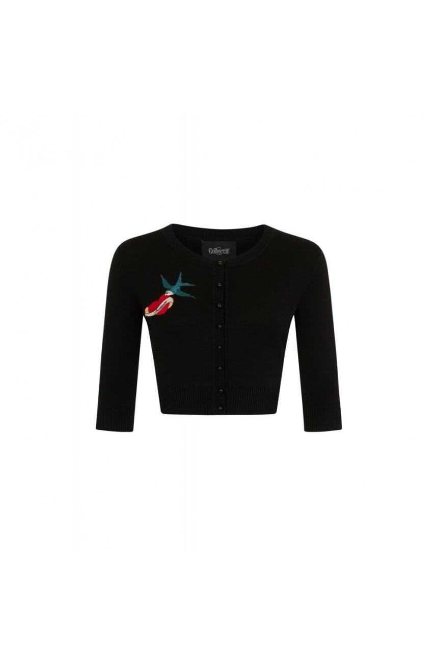 Cardigan vintage noir brodé
