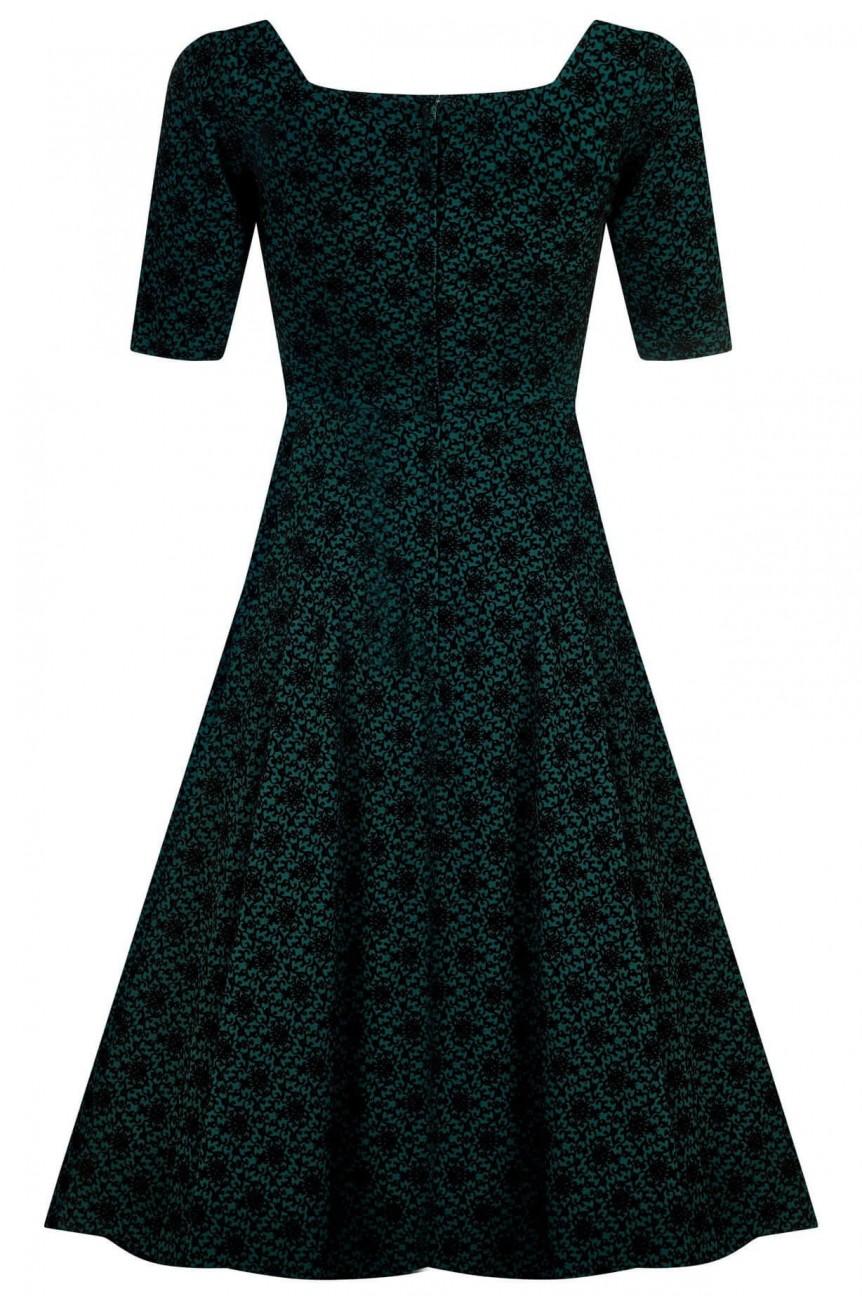 Robe swing brocade vert pin-up