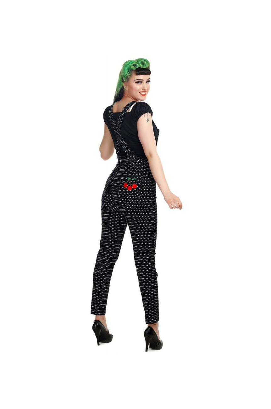 Salopette a pois pin up taille haute