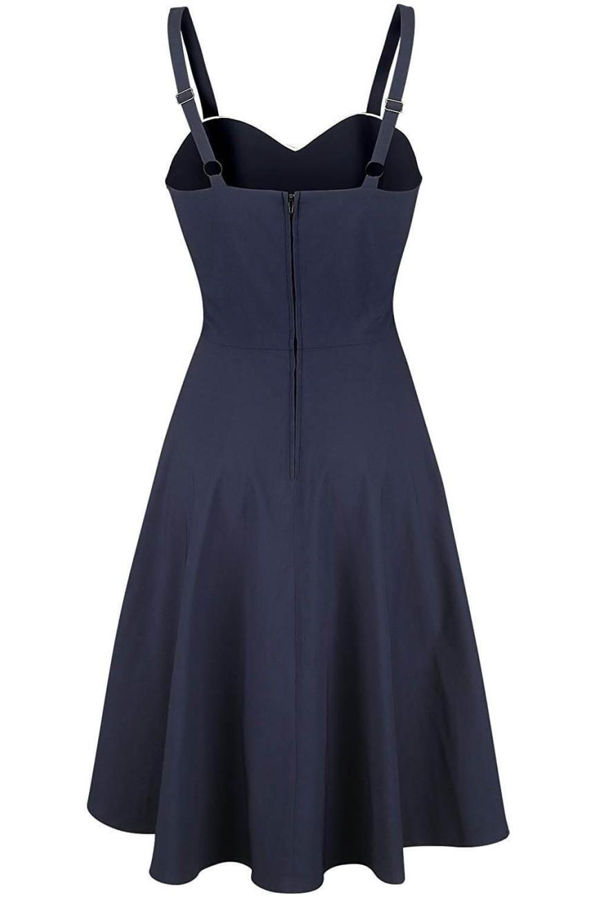 Robe pin-up fifties marin bleue