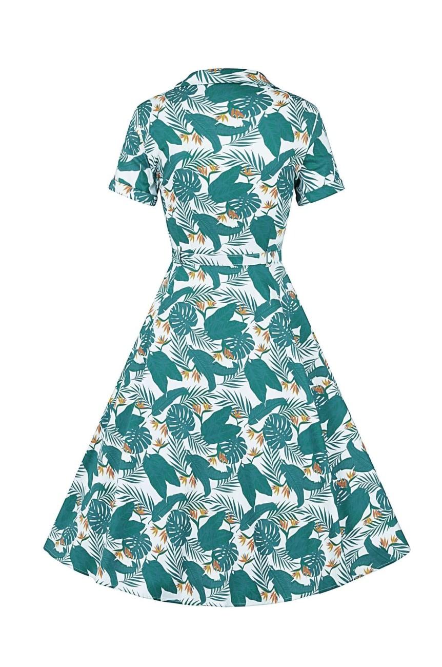 Robe vintage bleue motif tropical