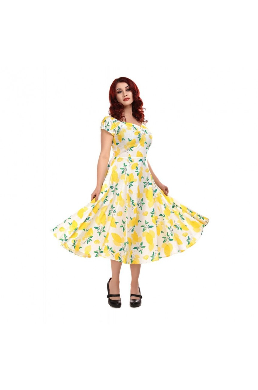 Robe pin-up vintage imprimé citron