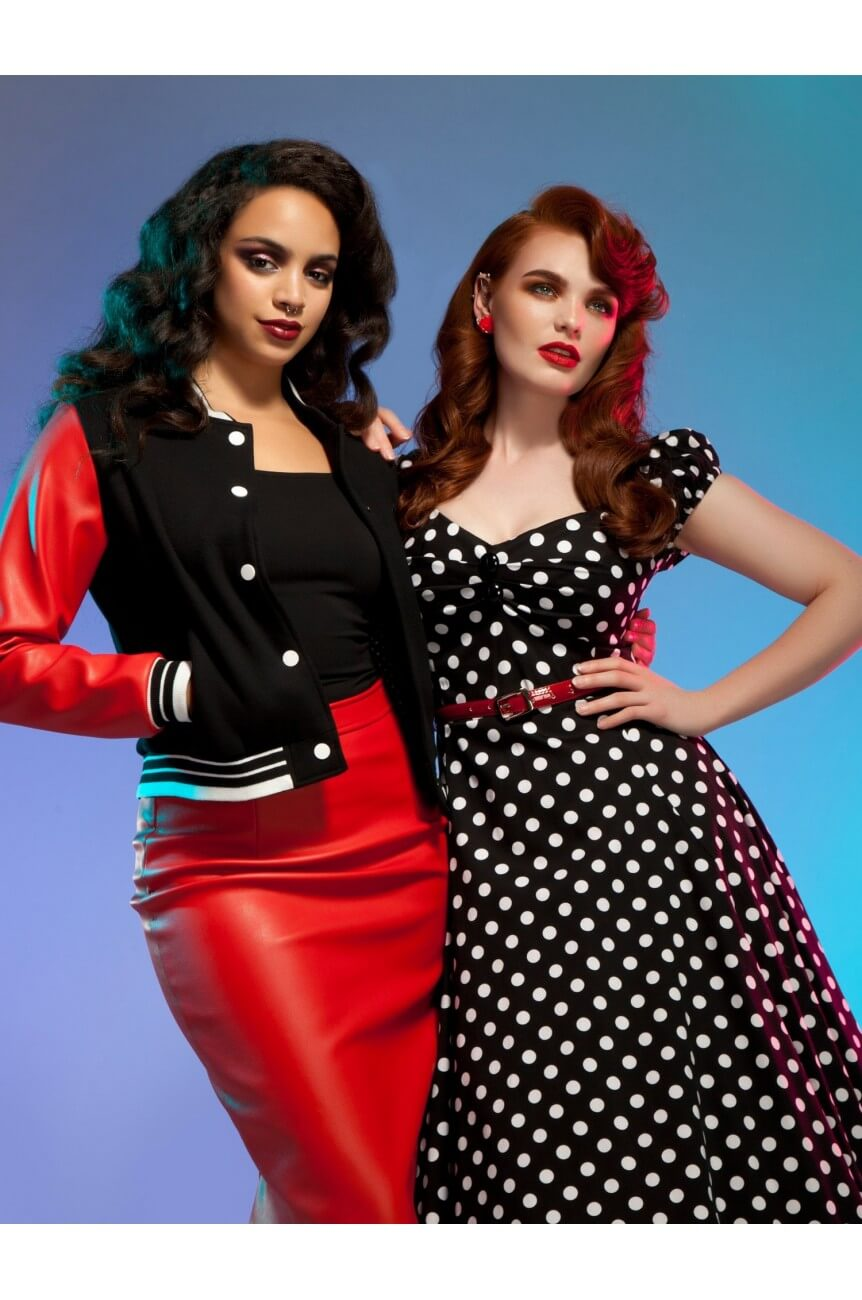 Robe pin-up noire a pois