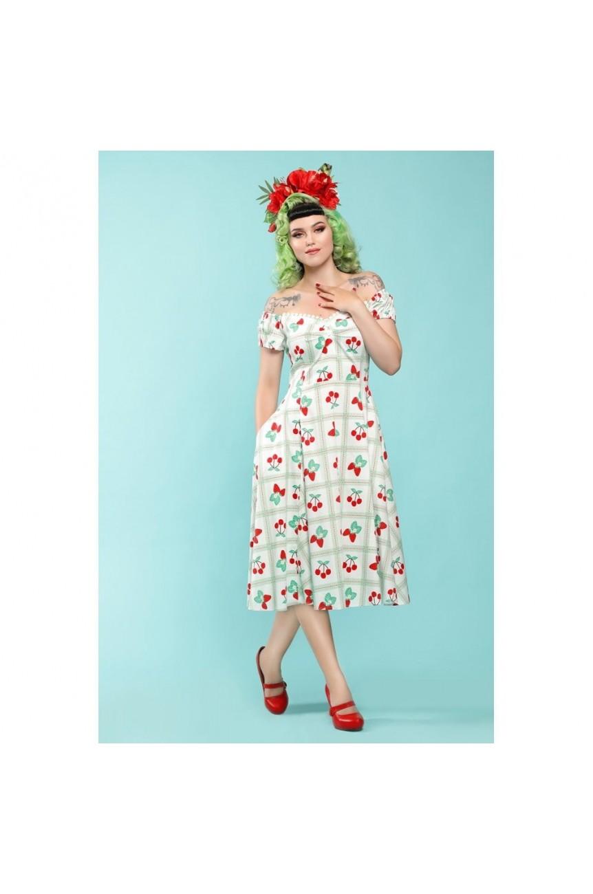 Robe Pin-up blanches fraises et cerises