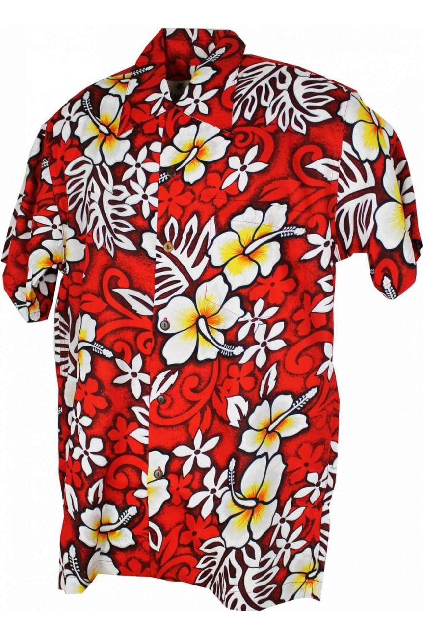 Chemise hawaïenne rouge homme