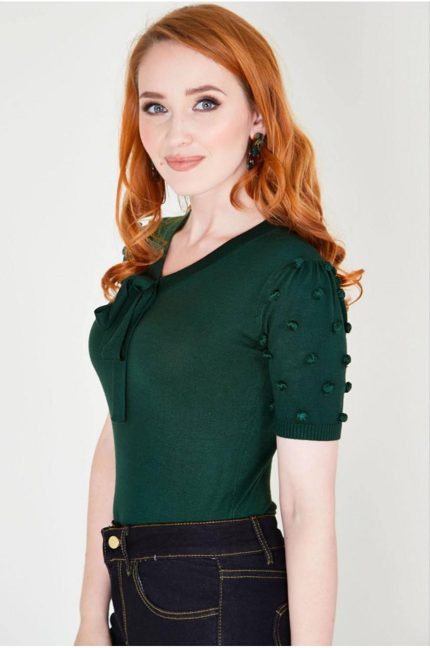 Pull année 40 vert femme