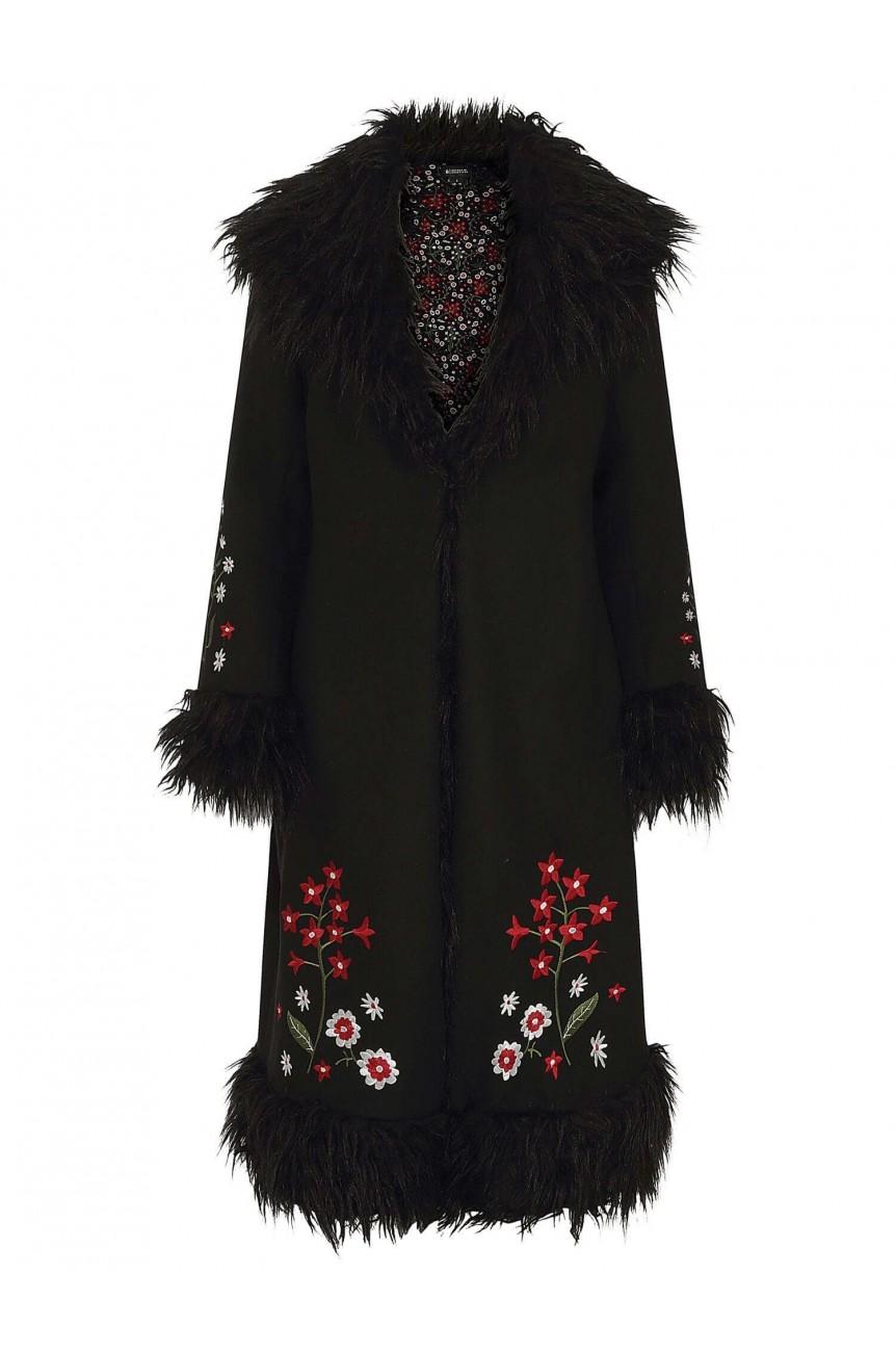 Manteau années 60 avec brodé de fleurs