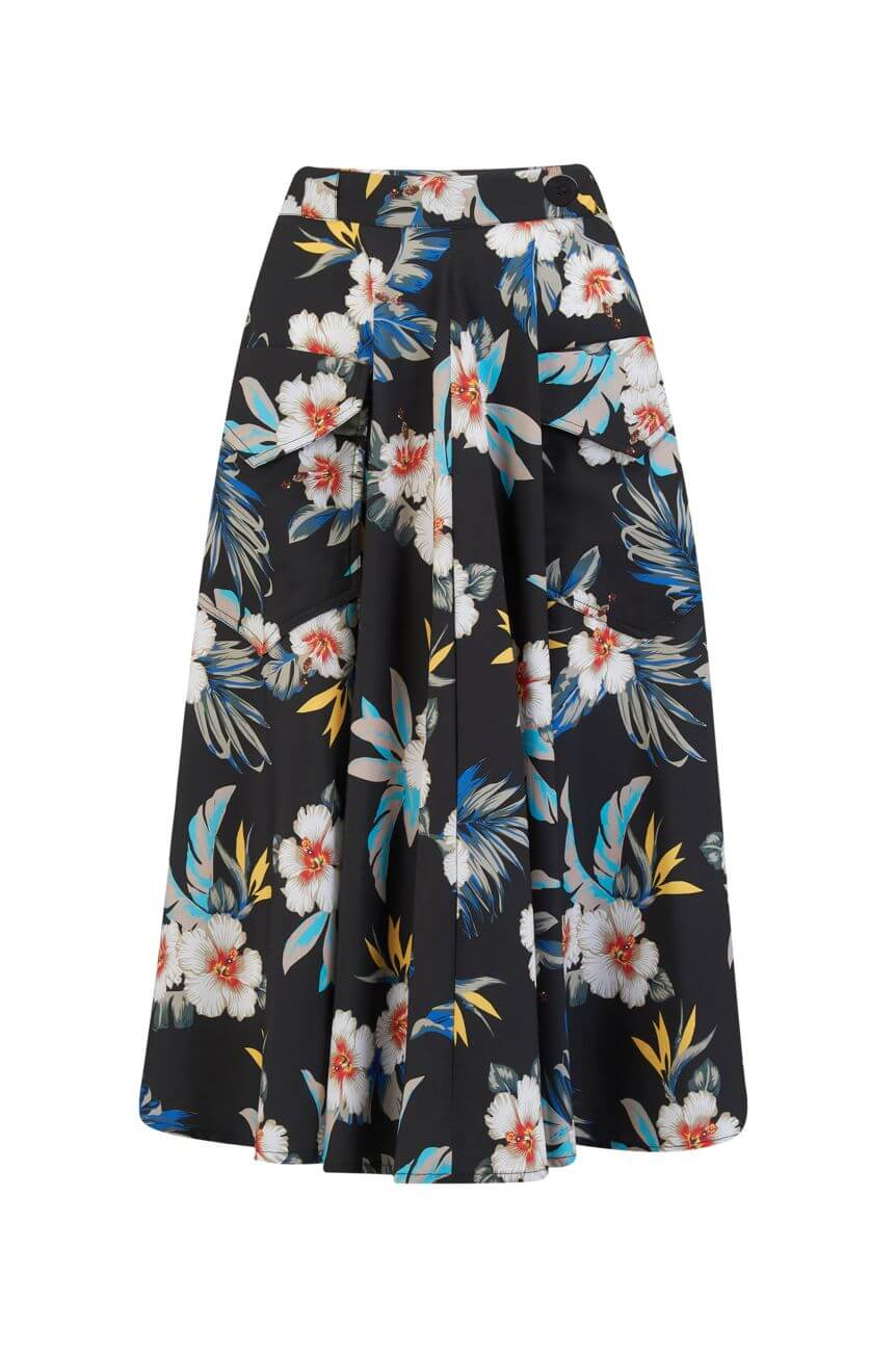 Jupe noire motif hawaïen