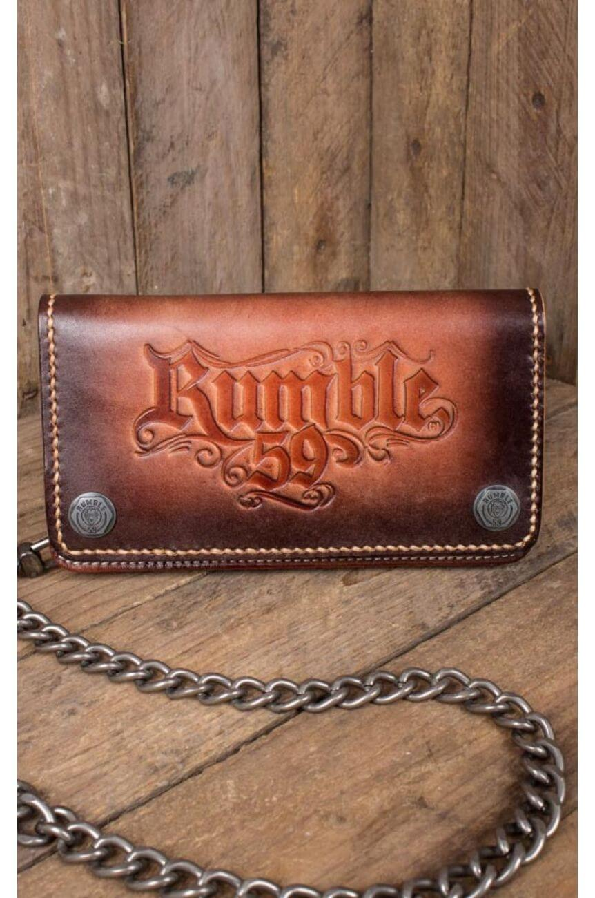 Portefeuille Rumble59 en cuir marron