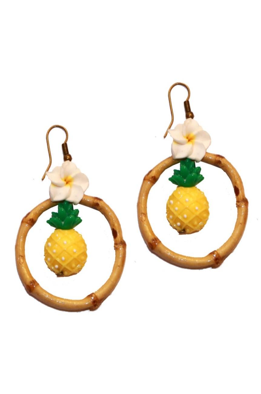 Boucles d' oreille ananas et bambou