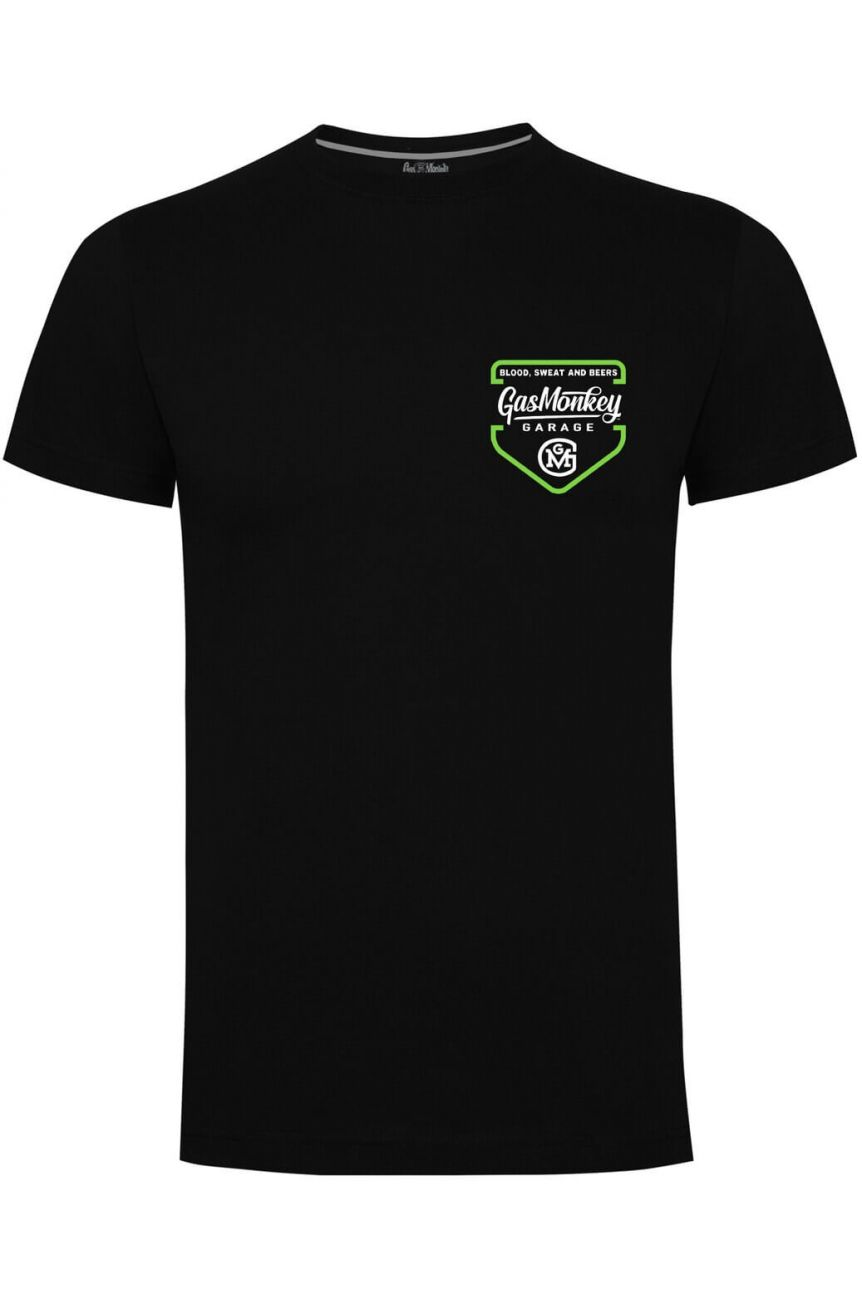 Tee shirt officiel gas monkey imprimé dans le dos vert