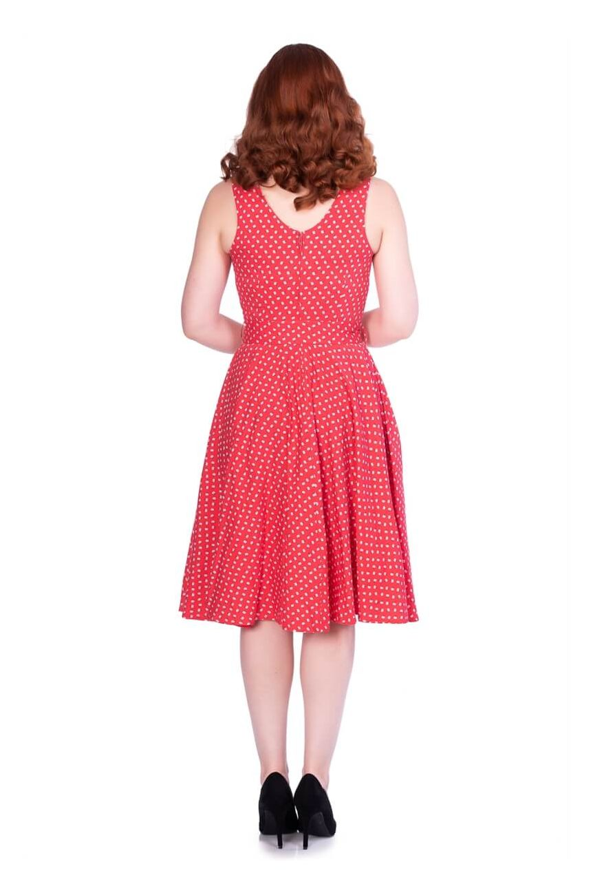 Robe vintage rouge à fleurs
