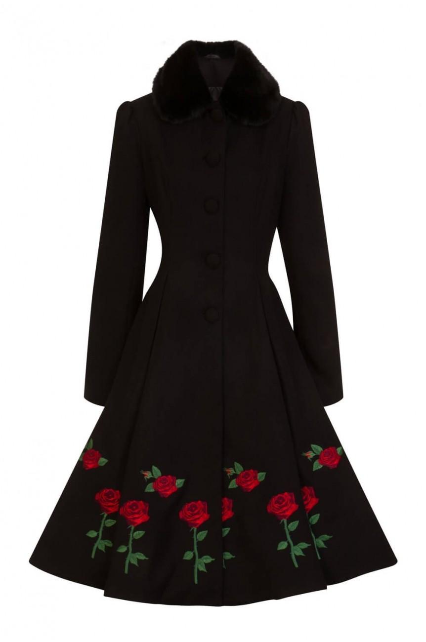 Manteau vintage noir brodé