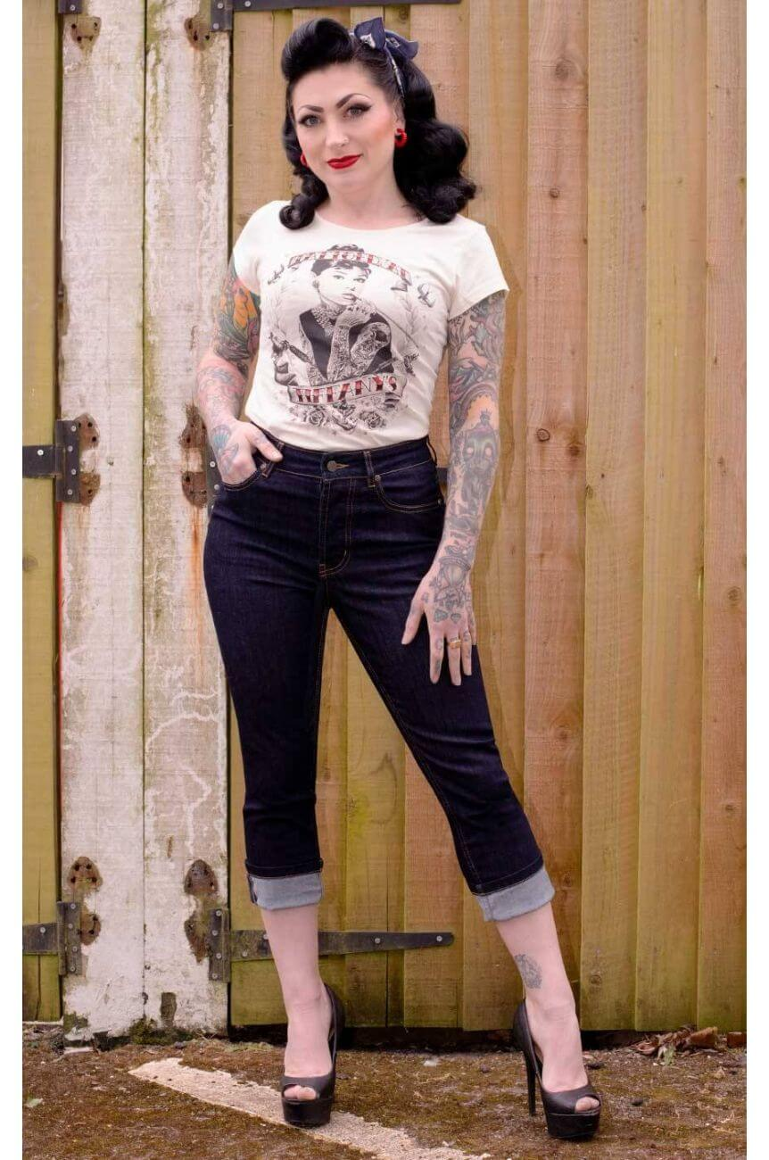 Pantacourt taille haute en jean