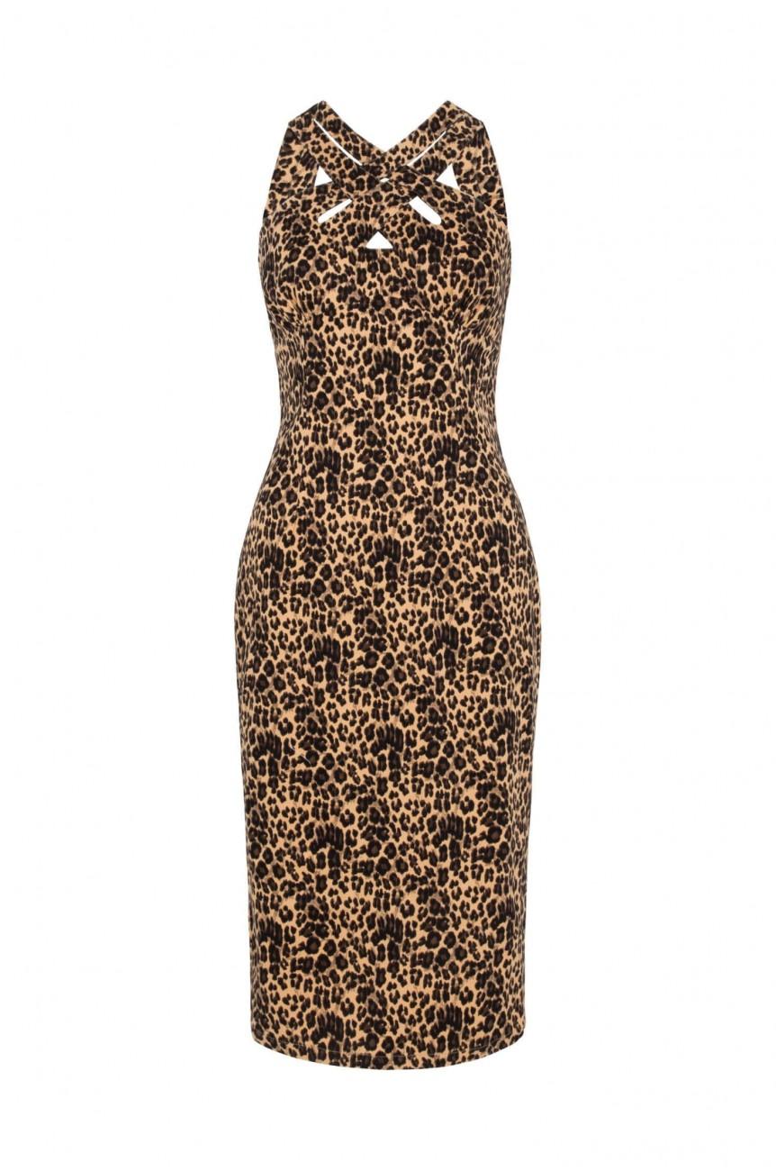 Robe crayon léopard annee50