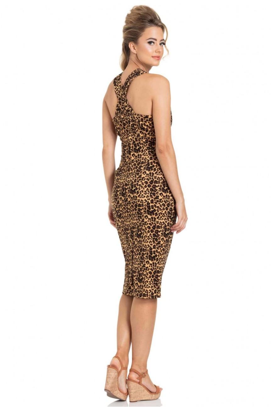 Robe fourreau léopard rockabilly