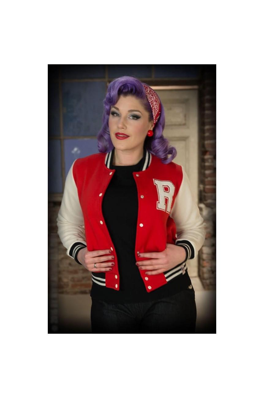 Veste college teddy rockabilly rouge