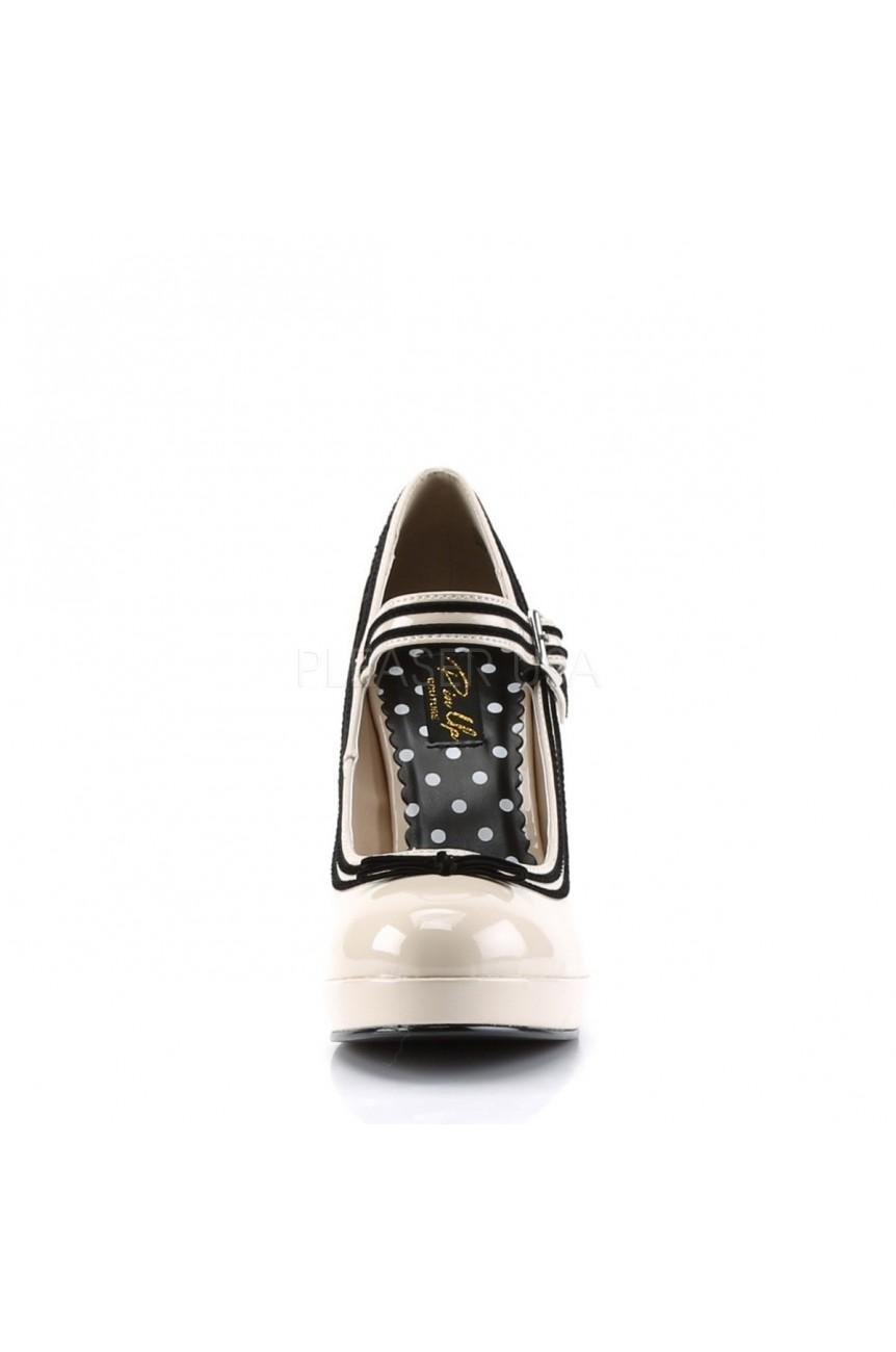 Chaussure retro pin up vinyle beige