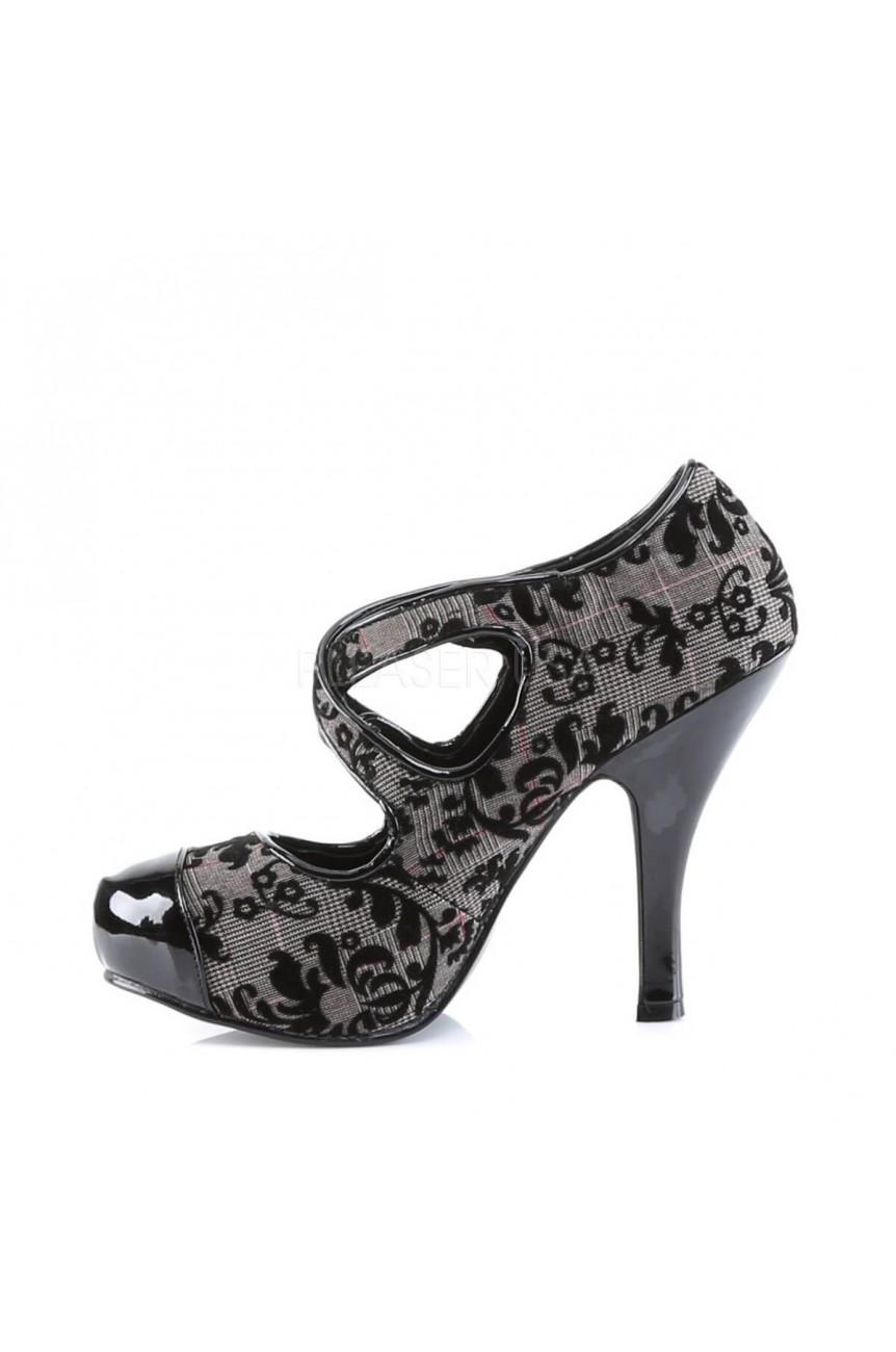 Chaussure imprimé ecossais et fleurs