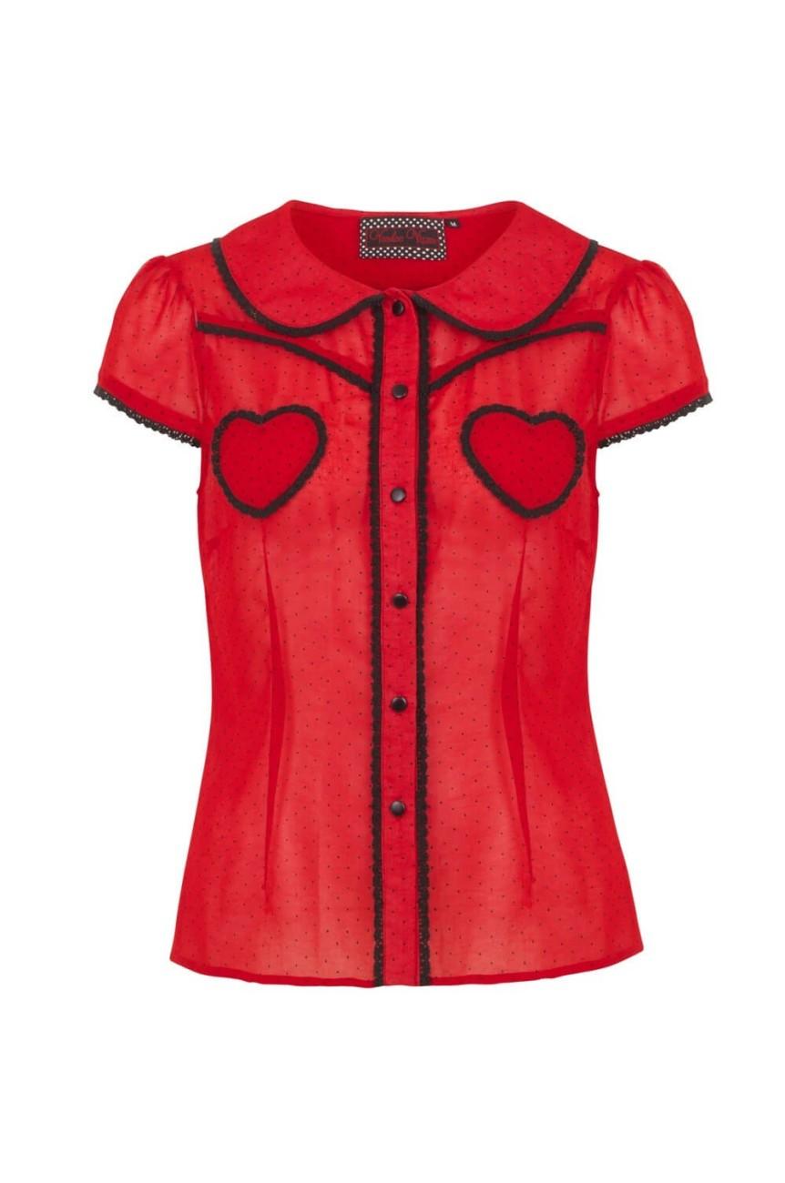 Chemise rouge poches en coeur