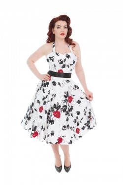 Robe vintage hellbunny blanche a fleurs