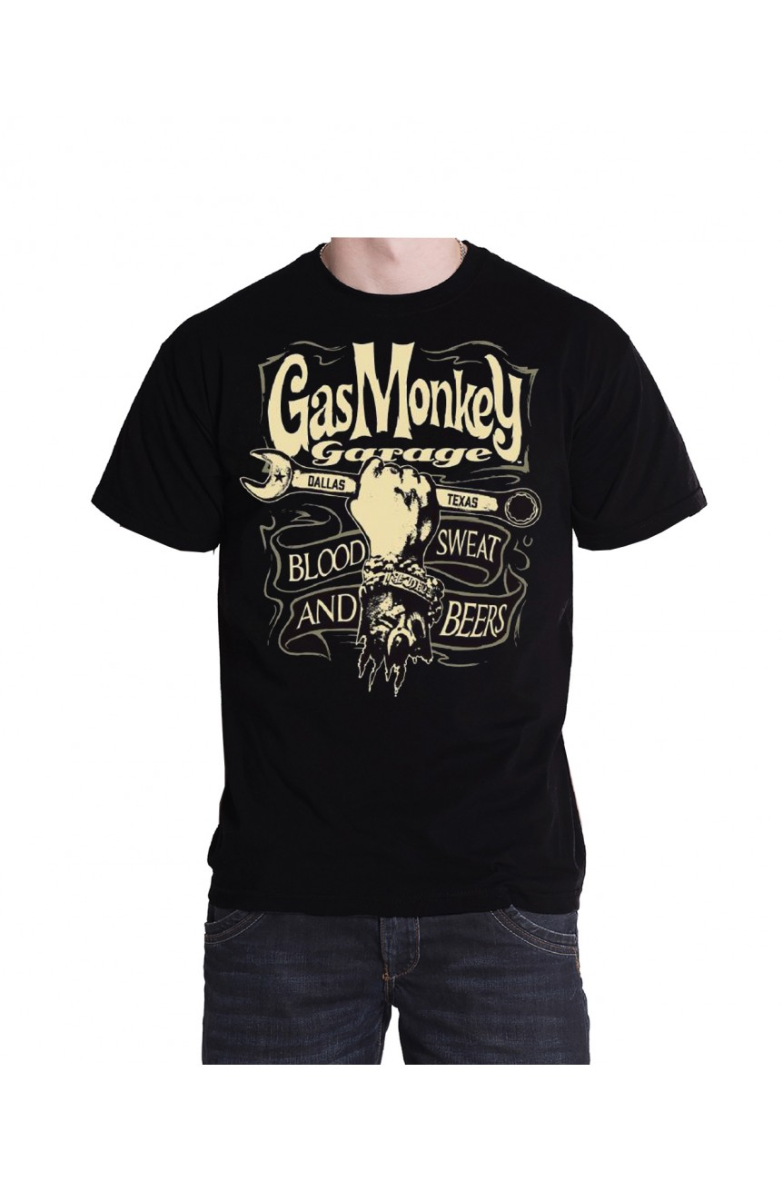 Tee sHirt gas monkey hand and spanne