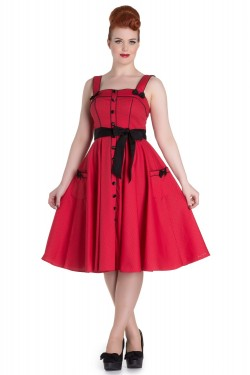 Robe vintage rouge à pois noir