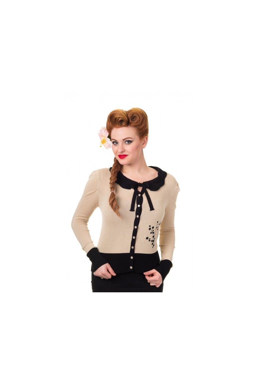 Cardigan pin up beige