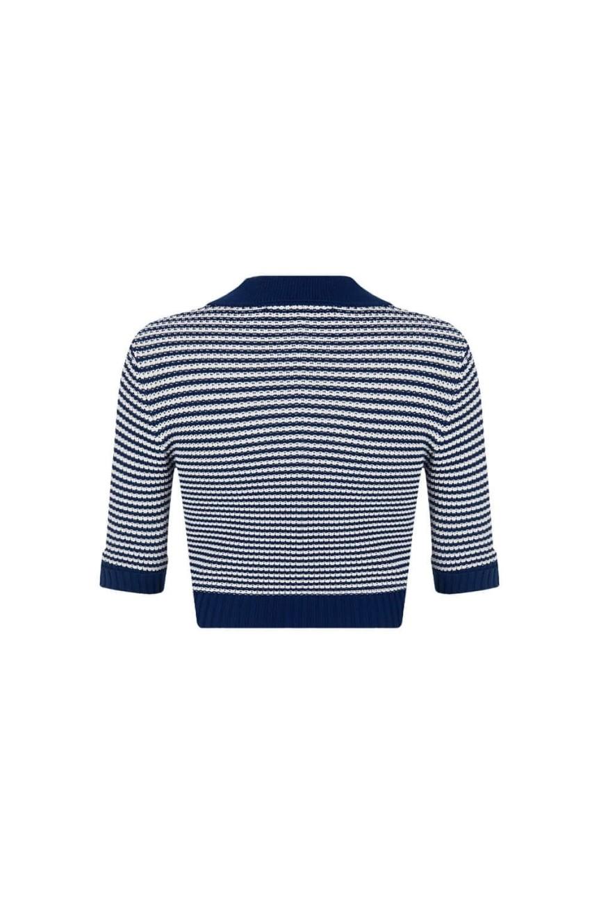 Cardigan vintage rayé bleu et écru