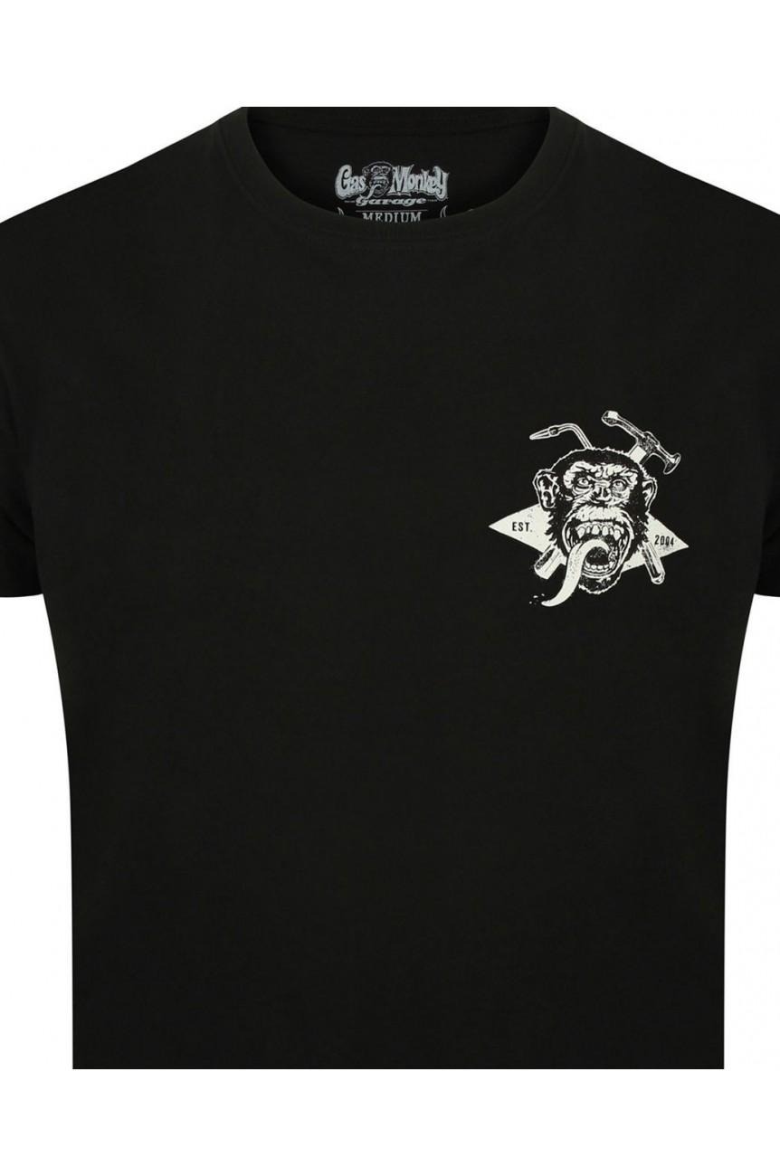 Tee shirt gas monkey Torch & hammer noir