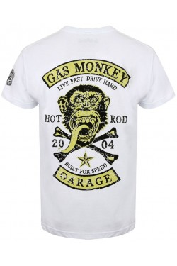 Tee shirt Gas monkey garage patch blanc