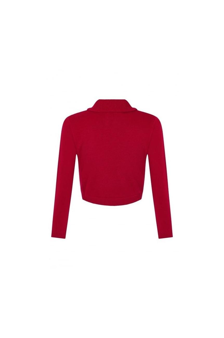 Bolero rouge rétro avec noeud